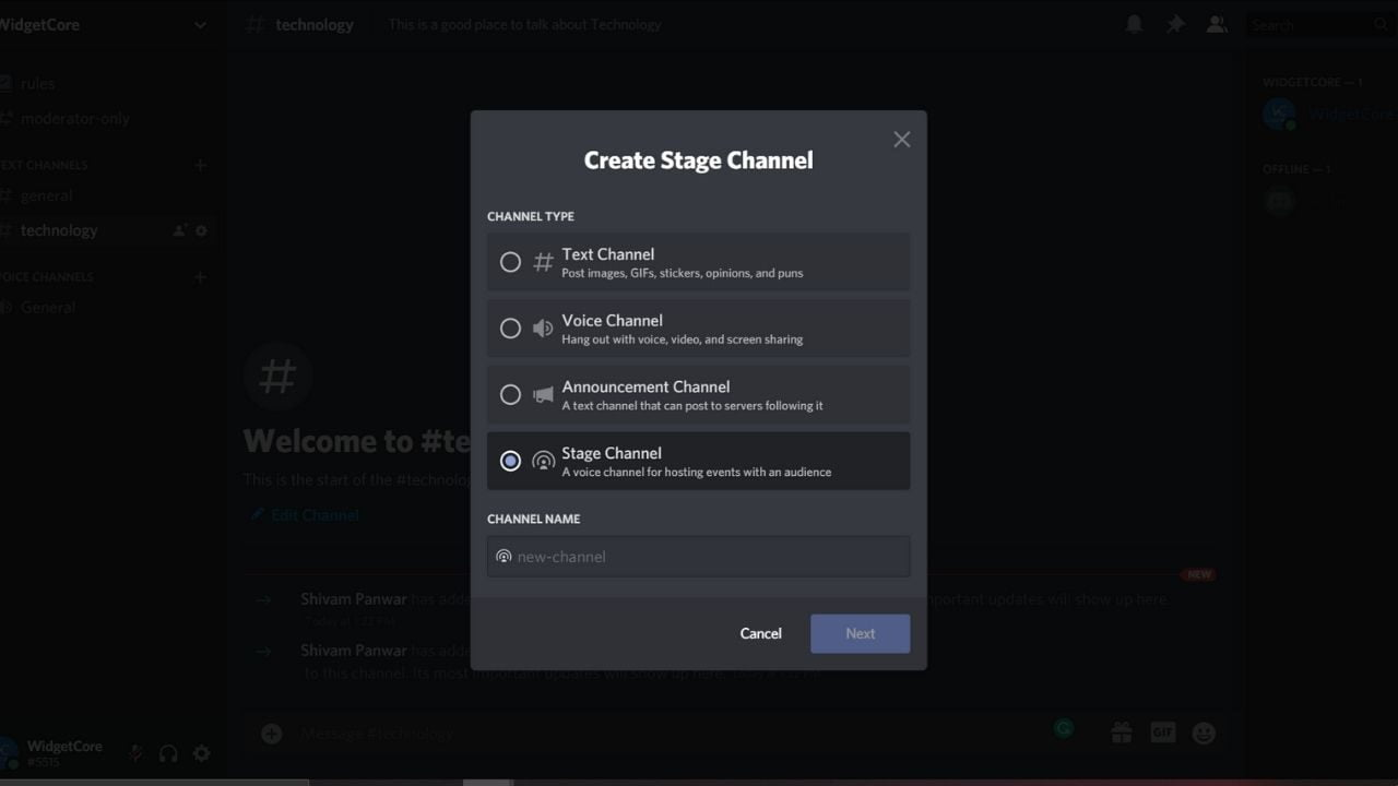 Select discord stage channel
