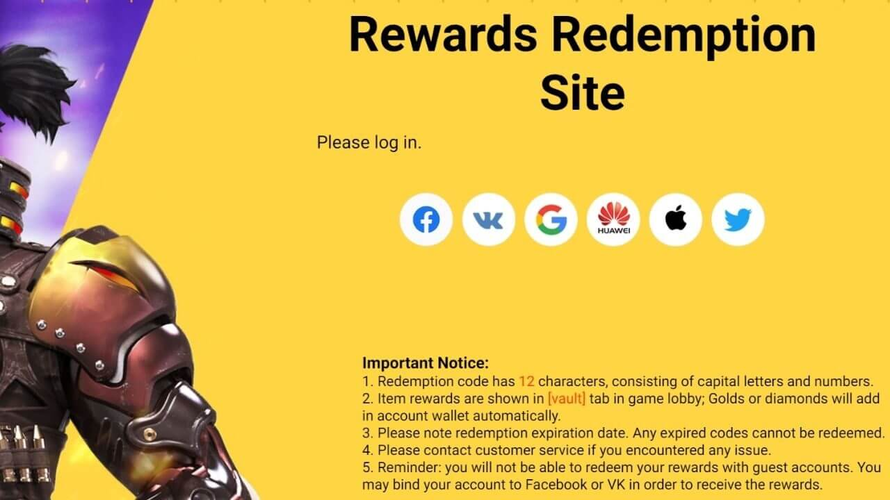 Free Fire Redeem Code for 19th July 2021